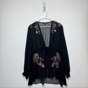 Express Sheer SeeThru Long Sleeve Black Floral Top